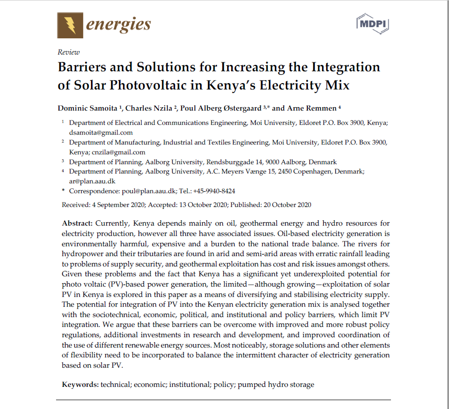 Barriers and Solutions for Increasing the Integration of Solar Photovoltaic in Kenya's Electricity Mix